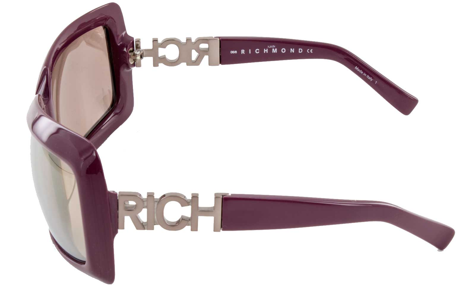 John Richmond Sonnenbrille JR58404 100% UV Schutz Vollrandbrille lila silber