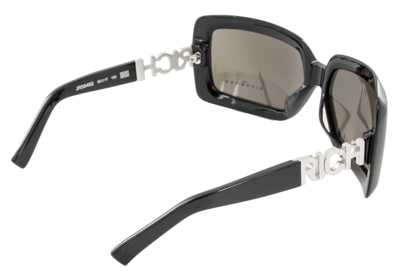 John Richmond Sonnenbrille JR58402 100% UV Schutz Vollrandbrille schwarz silber